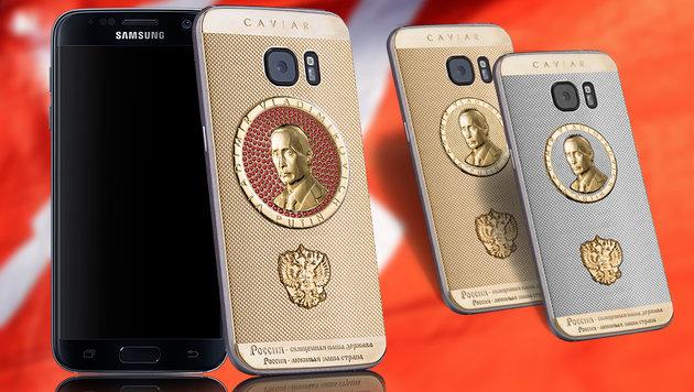 """Supremo Putin"": Telefonieren mit Putin (Bild: caviar-phone.ru, APA/AFP/VASILY MAXIMOV, krone.at-Grafik)"