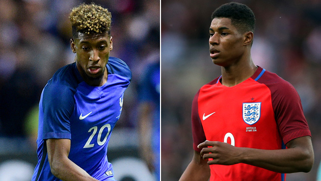 Kingsley Coman (links) und Marcus Rashford (Bild: GEPA, ASSOCIATED PRESS)