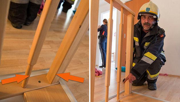 Bub (2) steckte mit Kopf in Geländer - befreit (Bild: BFK Baden/Stefan Schneider/www.bfkdo-baden.com)