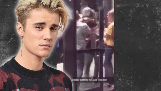 Justin Bieber liefert sich wilde Straßenschlägerei (Bild: YouTube.com, Jordan Strauss/Invision/AP)