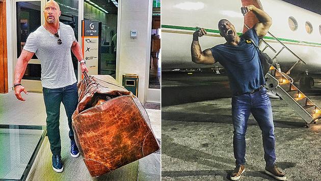 Dwayne Johnson ist mit einer XXXXL-Tasche unterwegs. (Bild: instagram.com/therock)