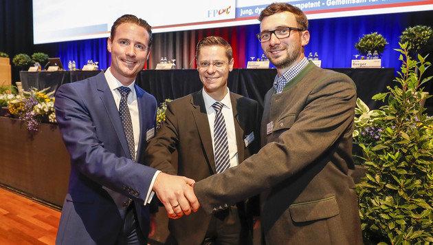 Volker Reifenberger, Andreas Hochwimmer und Hermann Stöllner unterstützen Marlene Svazek. (Bild: MARKUS TSCHEPP)