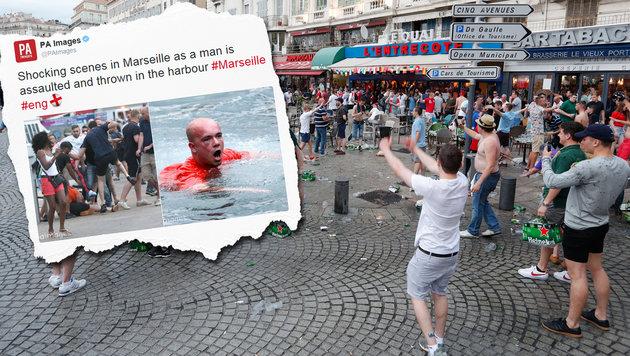 Randale in Marseille - Fan in Hafenbecken geworfen (Bild: AP, twitter.com)