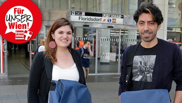 Im 21. Bezirk unterwegs: Tamara und Ali von Juvivo. (Bild: Klemens Groh)