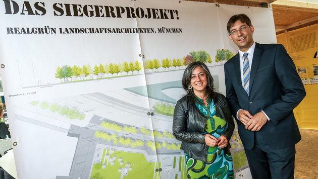 Verkehrsstadträtin Maria Vassilakou (Grüne) und Bezirksvorsteher Markus Figl (ÖVP) (Bild: PID/Christian Fürthner)