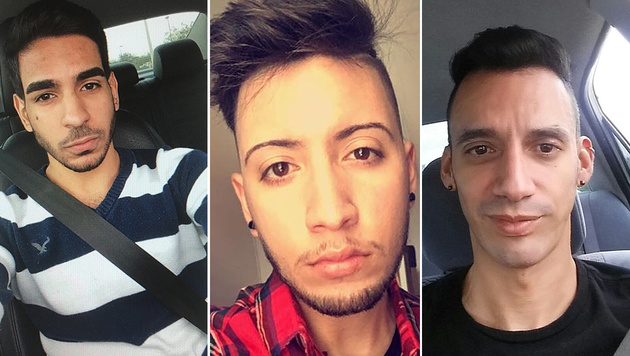 V.l.n.r.: Juan Ramon Guerrero (22), Luis Omar Ocasio-Capo (20), Eric Ivan Ortiz-Rivera (36) (Bild: Facebook, Instagram)