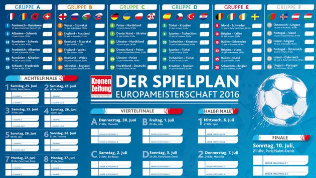 EURO 2016: Der Spielplan und alle Resultate (Bild: krone.at-Grafik)