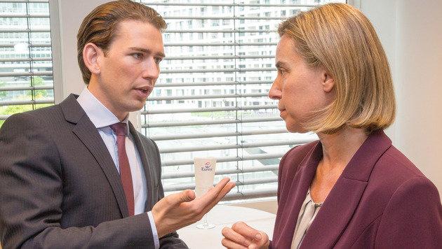 Außenminister Sebastian Kurz und die EU-Außenbeauftragte Federica Mogherini (Bild: photonews.at/Georges Schneider)