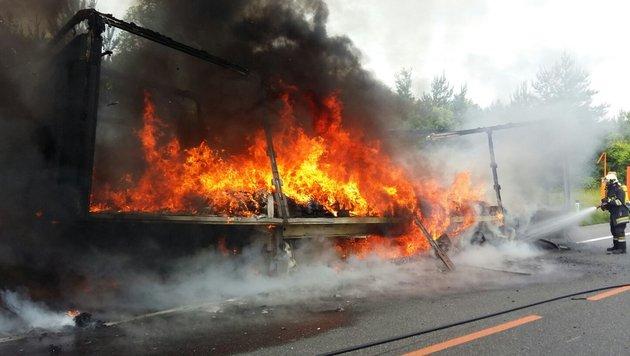 Lkw-Sattelaufleger ging auf A21 in Flammen auf (Bild: APA/Freiwillige Feuerwehr Alland)