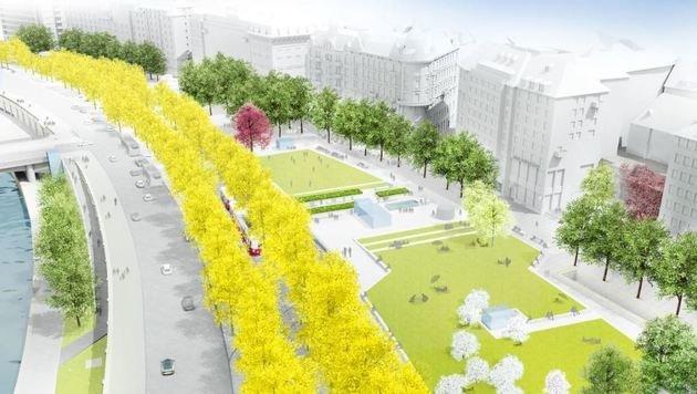 So soll der neue Schwedenplatz einmal aussehen. (Bild: realgrün/Landschaftsarchitekten)