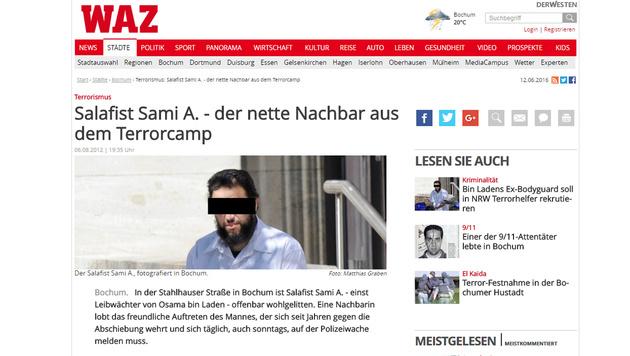 """Sami A. als """"netter Nachbar"""" - hier in einem Archivbericht der  """"Westdeutschen Allgemeinen Zeitung"""" (Bild: derwesten.de)"""
