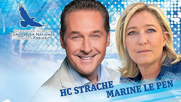 Heinz-Christian Strache mit Marine Le Pen auf einem Werbeplakat der FPÖ (Bild: Twitter.com)