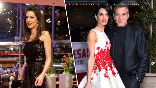 Amal Clooney sucht sich ihre Garderobe selbst aus. Ehemann George gefällt es sichtlich. (Bild: Viennareport)