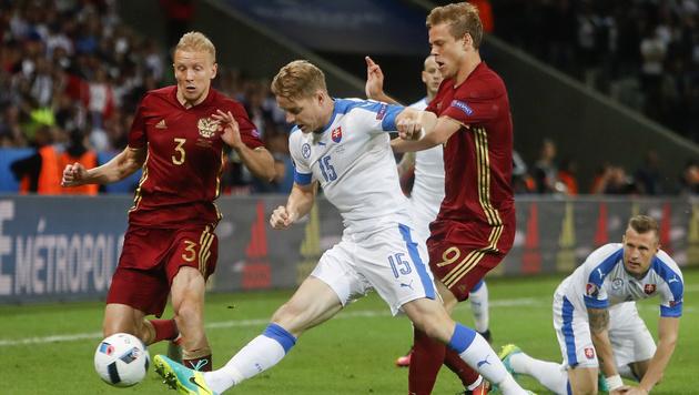 Slowakei besiegt Russland mit 2:1 (Bild: AP)