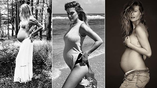 Wer hat den schönsten Babybauch im Land: Candice, Bar oder Behati? (Bild: instagram.com/angelcandices/barrefaeli/behatiprinsloo)
