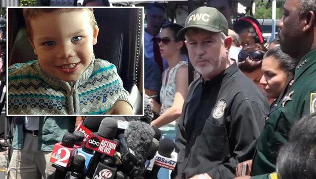 """16 Stunden nach dem Alligator-Angriff wurde die Leiche von Lane Graves (kl. Bild) gefunden. (Bild: Orange County Sheriff""""s Office, ruptly.tv)"""