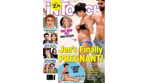 """""""In Touch"""" zeigt am Titel Fotos, die beweisen sollen, dass Jennifer Aniston schwanger ist. (Bild: """"In Touch"""")"""