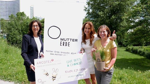 Renate Wimmer, Maggie Entenfellner und Mutter-Erde-Chefin Hildegard Aichberger (Bild: Gerhard Bartel)