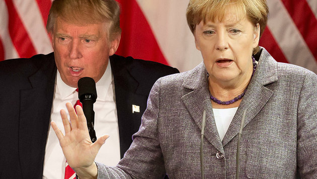 Die Flüchtlingspolitik der deutschen Kanzlerin Angela Merkel ist Trump ein Dorn im Auge. (Bild: AP, EPA/WOLFGANG KUMM)