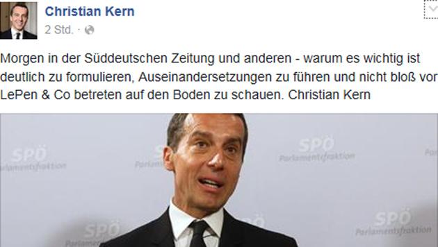 """Kern: """"Die Leistung der FPÖ ist nicht vorhanden"""" (Bild: Facebook.com/Christian Kern)"""