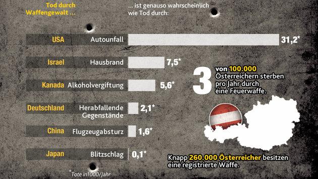 """Waffennation USA: Ein Land rüstet sich zu Tode (Bild: """"Krone Grafik"""")"""