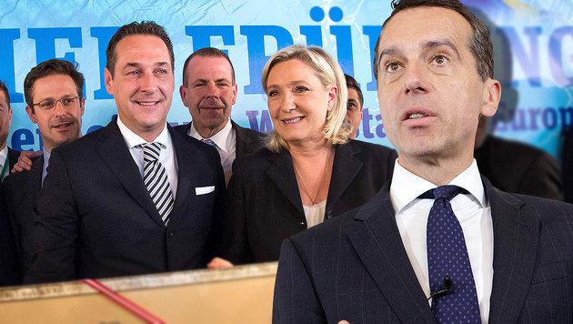 Kanzler Christian Kern kann mit rechtspopulistischen Parteien wie der Strache-FPÖ wenig anfangen. (Bild: APA/GEORG HOCHMUTH, AFP/VLADIMIR SIMICEK)