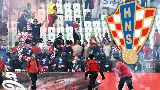 Pyro-Skandal: Kroatien droht harte Strafe der UEFA (Bild: APA/AFP/PHILIPPE DESMAZES)