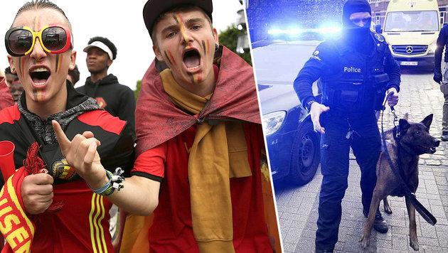 Razzien in Belgien: Anschlag auf Fanzone geplant? (Bild: APA/AFP/THOMAS SAMSON, APA/AFP/BELGA/DIRK WAEM)