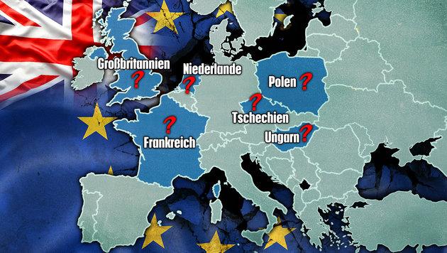 Folgen nach einem Brexit auch in anderen Ländern Volksabstimmungen über den Verbleib in der EU? (Bild: thinkstockphotos.de, krone.at-Grafik)