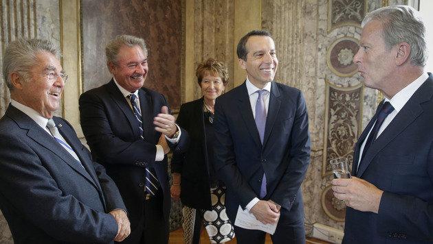 Fischer, Luxemburgs Außenminister Jean Asselborn, Kern, Mitterlehner (v.l.) (Bild: APA/BUNDESHEER/PETER LECHNER)