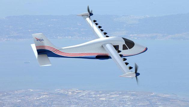 Künstlerische Illustration von X-57: So soll der Elektroflieger aussehen. (Bild: NASA Langley/Advanced Concepts Lab, AMA Inc.)
