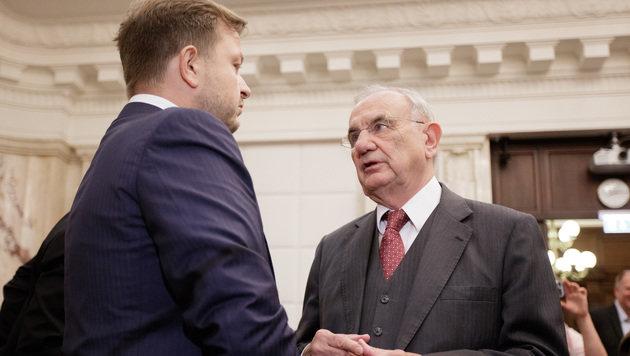 Rechtsanwalt Dieter Böhmdorfer während des ersten Verhandlungstages (Bild: APA/GEORG HOCHMUTH)
