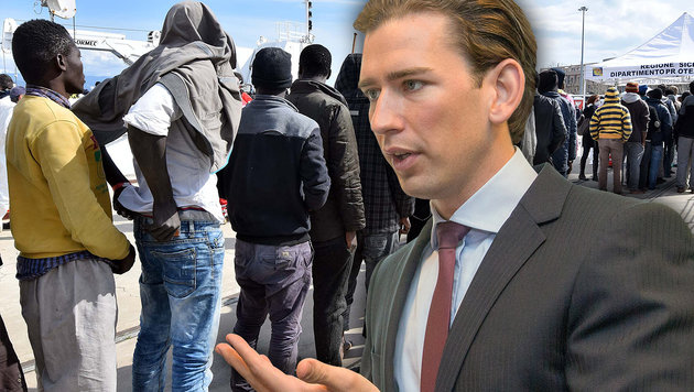 Flüchtlingskrise: Außenminister Kurz will gegen die illegale Schlepperei vorgehen. (Bild: APA/AFP/GIOVANNI ISOLINO, APA/AFP/PHOTONEWS.AT/GEORGES SCHNEIDER)
