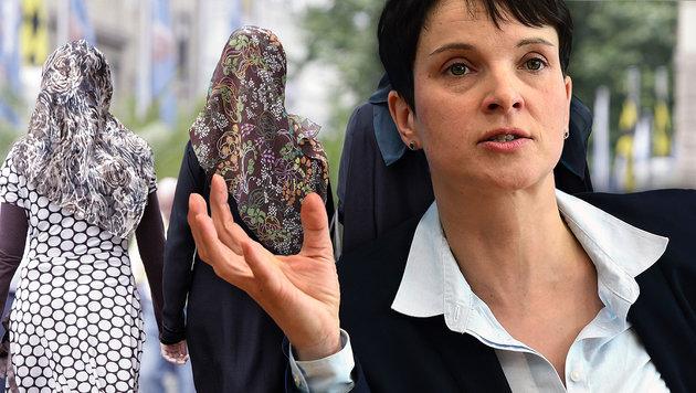 """""""Eine gut integrierte Frau braucht kein Kopftuch"""" (Bild: DPA/Andreas Gebert, AFP/John MACDOUGALL)"""