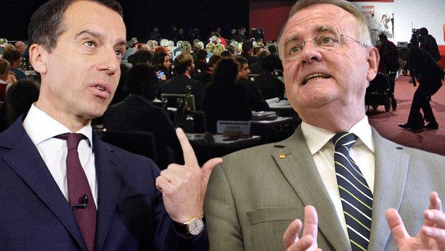 Das Duell: Kanzler Kern gegen Burgenlands Landeschef Niessl vor dem SPÖ-Bundesparteitag am Samstag (Bild: APA/HERBERT NEUBAUER, APA/GEORG HOCHMUTH, APA/HELMUT FOHRINGER)