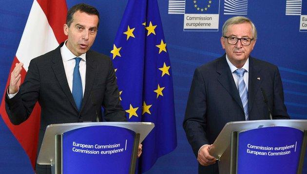 Christian Kern und EU-Kommissionspräsident Jean-Claude Juncker (Bild: APA/AFP/John Thys)