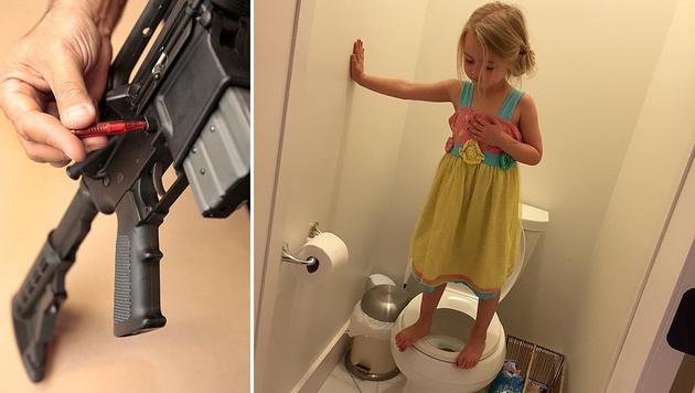 Mit dem Foto ihrer Tochter (3) plädiert Stacey Wehrman Feeley für schärfere Waffengesetze. (Bild: AP, facebook.com/stacey.w.feeley)