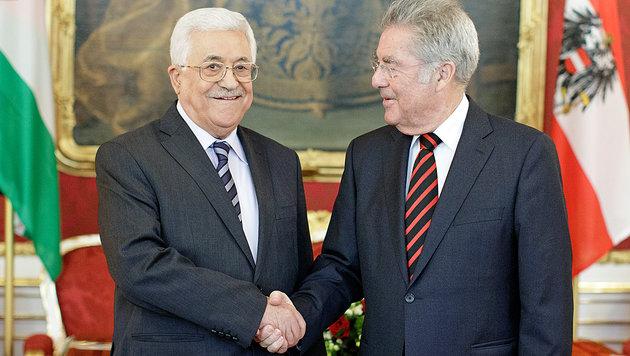 Abbas auf Blitzbesuch bei Fischer in Wien (Bild: APA/Georg Hochmuth)