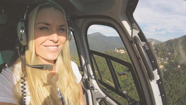 Die Ski-Queen hebt ab: Lindsey Vonn im Helikopter. (Bild: instagram.com)