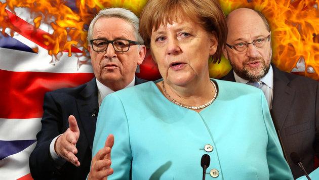 EU-Kommissionschef Juncker, Kanzlerin Merkel, EU-Parlamentspräsident Schulz (Bild: thinkstockphotos.de, AP/How Hwee Young, AP, AFP/PATRICK HERTZOG)