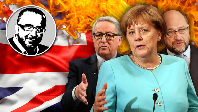 Straight in your face, Merkel, Schulz und Juncker! (Bild: thinkstockphotos.de, AP/How Hwee Young, AP, AFP/PATRICK HERTZOG)
