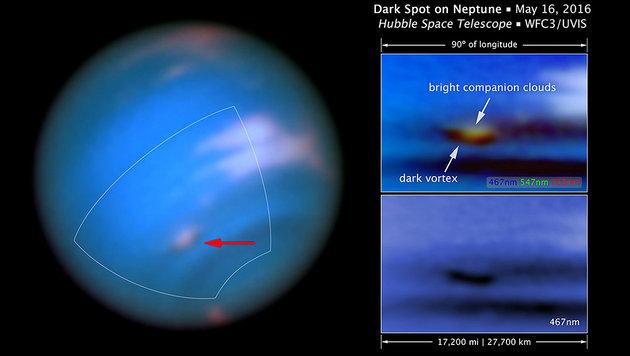 """Hubble"" entdeckt neuen schwarzen Fleck auf Neptun (Bild: NASA, ESA, M.H. Wong & J. Tollefson (UC Berkeley))"