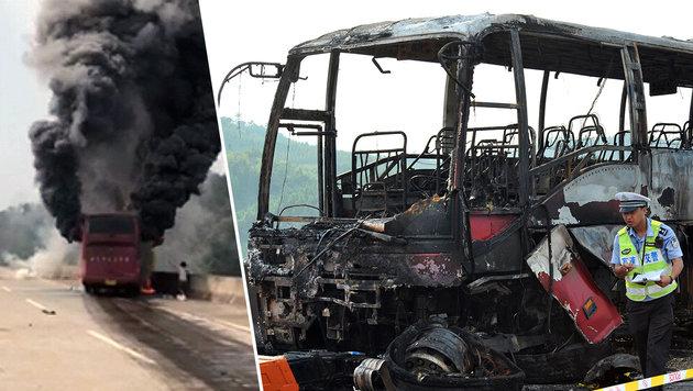 35 Tote bei schwerem Busunglück in China (Bild: twitter.com/Xinhua, AP)