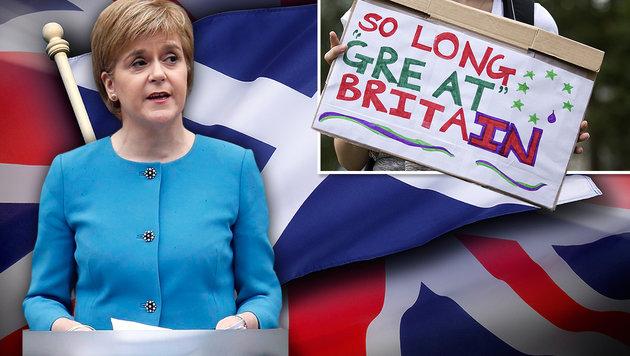"""Schottlands Regierungschefin Sturgeon hält die Situation für """"demokratiepolitisch inakzeptabel"""". (Bild: thinkstockphotos.de, AP, APA/AFP/Justin Tallis)"""