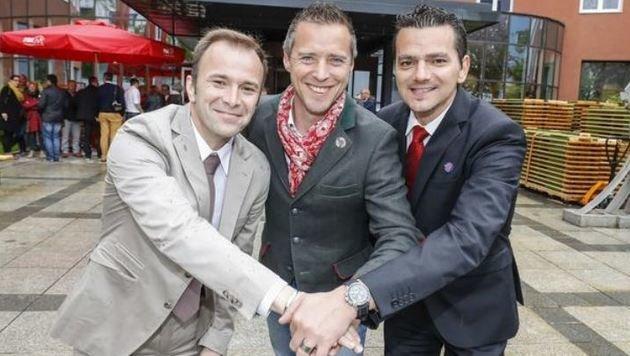Rote Zukunft: Bernhard Auinger,  Peter Eder und Gerald Forcher (Bild: Markus Tschepp)