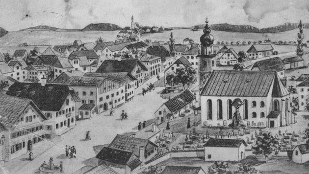 Seekirchen in einer frühen Ansicht: ausgerechnet die Grünen im Ort wollen hist. Gebäude killen (Bild: Historisches Bild)