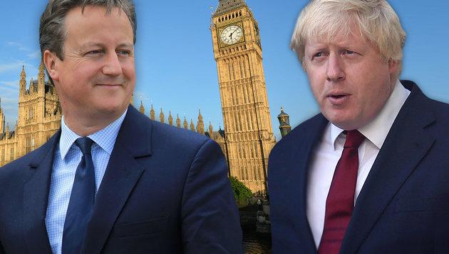 Premier Cameron (li.) und Brexit-Befürworter Johnson verhalten sich seit dem Votum auffällig ruhig. (Bild: APA/AFP/GLYN KIRK, APA/AFP/OWEN COOBAN, APA/AFP/JUSTIN TALLIS)