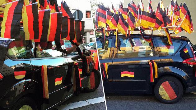 Deutsches Fahnen-Auto sorgt für Aufregung (Bild: facebook.com)