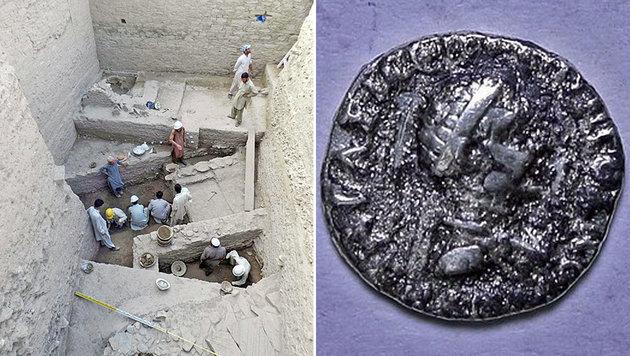 Eine der bei den Grabungen (links) in Bazira gefundenen Münzen (rechts) (Bild: Dawn, Italian Archaeological Mission in Swat)