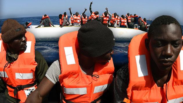"""""""Mittelmeerroute so stark frequentiert wie nie"""" (Bild: APA/AFP/GABRIEL BOUYS)"""